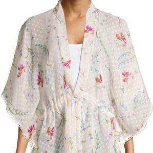 Women's Clip dot kimono with floral print